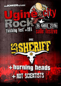 "16 avril 2016 Not Scientists, Burning Heads, les Sheriff à Ugine ""Salle Festive"""
