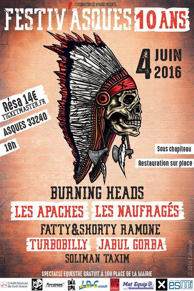 4 Juin 2016 Soliman Taxim, Turbobilly, Jabul Gorba, Fatty & Shorty Ramone, Les Apaches, Les Naufragés, Burning Heads à Asques