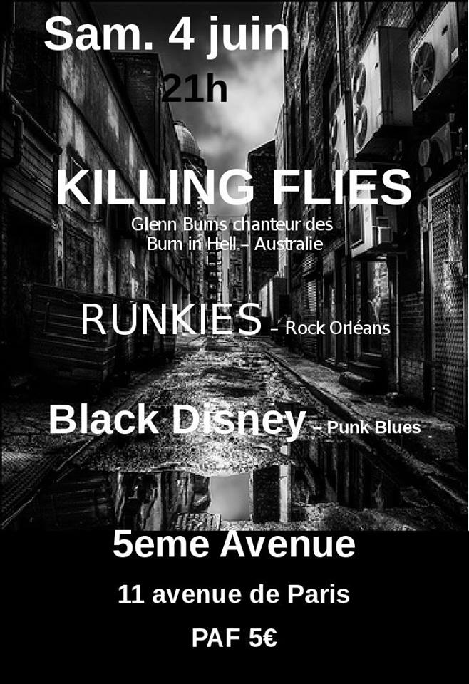 "4 juin 2016 Black Disney, Runkies, Killing Flies à Orléans ""5ème Avenue"""