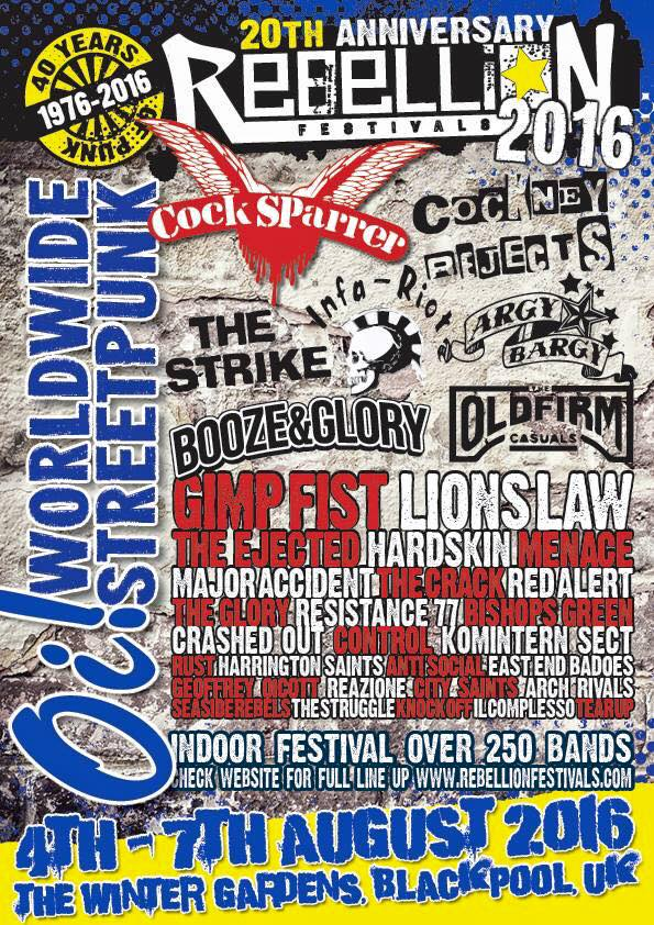 """5 aout 2016 Lee Harveys, The Cravats, Men They Couldn't Hang, The Weirdos, Paranoid Visions, Splodgenessabounds, Kunt & the Gang, A Heads, Argies, Fire Exit, Komintern Sect, Loaded, Dogtown Rebels, Hazard à Londres """"Pavillon"""""""