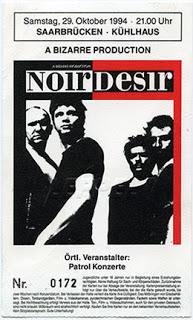 """29 Octobre 1994 Noir Desir à Sarrebruck """"Külhaus"""""""