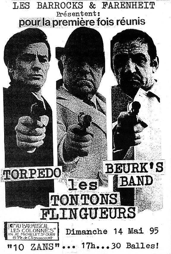 """14 mai 1995 les Tontons Flingueurs, Torpedo, Beurk's Band à Saint Ouen """"Bar les Colonnes"""""""