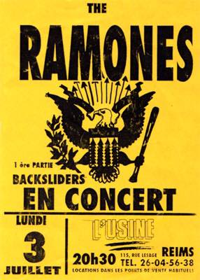 "3 juillet 1995 The Ramones, Backsliders à Reims ""L'Usine"""