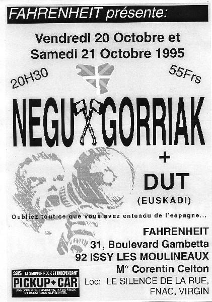 """20 octobre 1995 Negu Gorriak, DUT à Issy les Moulineaux """"le Farenheit"""""""