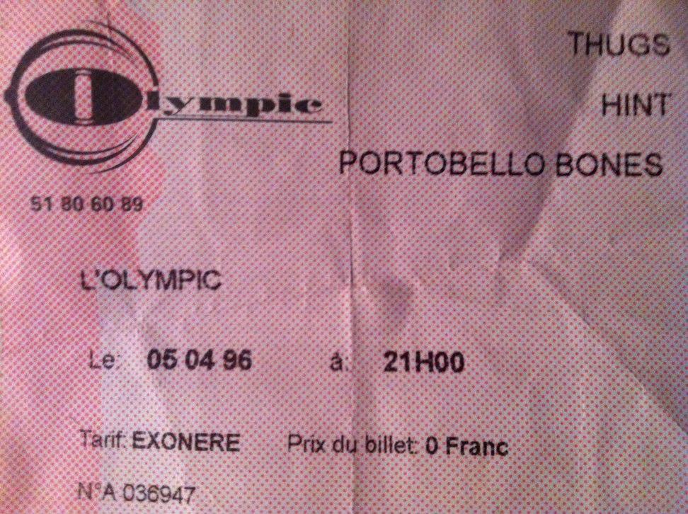 """5 avril 1996 Hint, Portobello Bones, les Thugs à Nantes """"Olympic"""""""