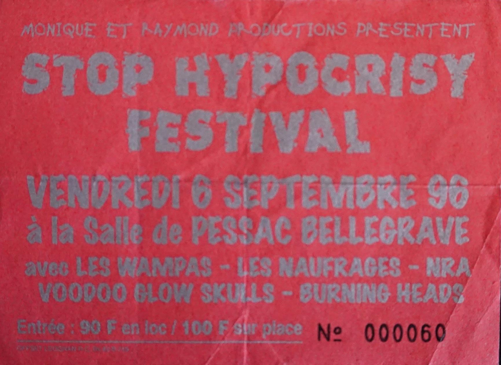 "6 septembre 1996 La Ruda Salska, les Naufragés, Burning Heads, Seven Hate, NRA, Voodoo Glow Skulls, les Wampas à Pessac ""Salle Bellegrave"""