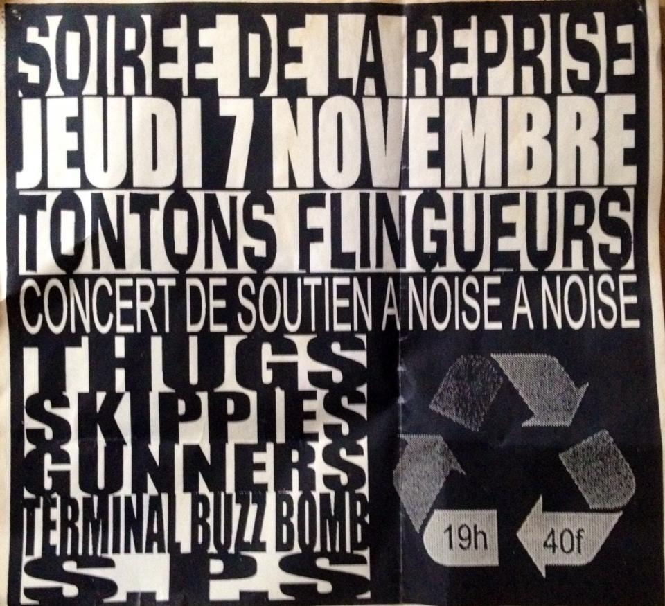 """7 novembre 1996 S.P.S, Skippies, Gunners, Terminal Buzz Bomb, Les Thugs à Rennes """"Les Tontons Flingueurs"""""""