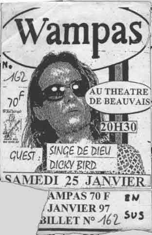 """25 janvier 1997 Dicky Bird, Singe de Dieu, les Wampas à Beauvais """"Théatre"""""""