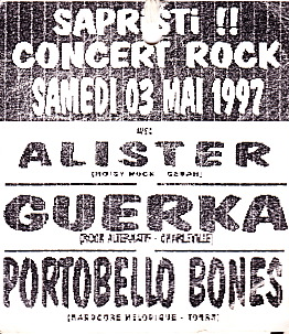 "3 mai 1997 Portobello Bones, Alister, Guerka à Sedan ""MJC"""