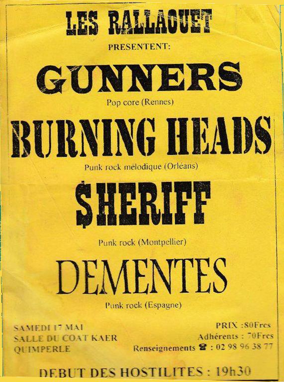 """17 mai 1997 Dementes, Les Sheriffs, Burning Heads, Gunners, Somerset (?) à Quimperlé """"salle du Coat Ker"""""""