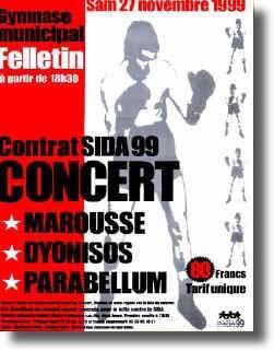 "27 Novembre 1999 Marousse, Dionysos, Parabellum à Felletin ""Gymnase Municipal"""