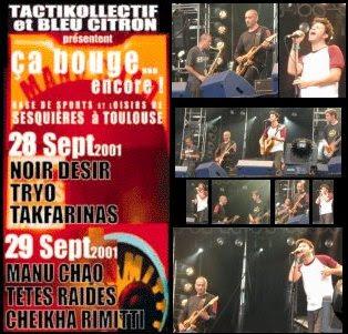 """28 Septembre 2001 Noir Desir, Tryo, Takfarinas à Toulouse """"Base de Sports et Loisirs de Sesquieres"""""""