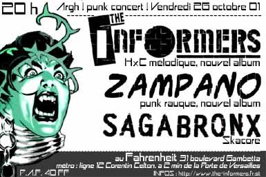 """26 octobre 2001 Informers, Zampano à Issy les Moulineaux """"le Farenheit"""""""