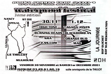 "1er Décembre 2001 Black Bomb A, Tagada Jones, Orange Bud, MAD à Le Thillot ""Salle Omnisport"""