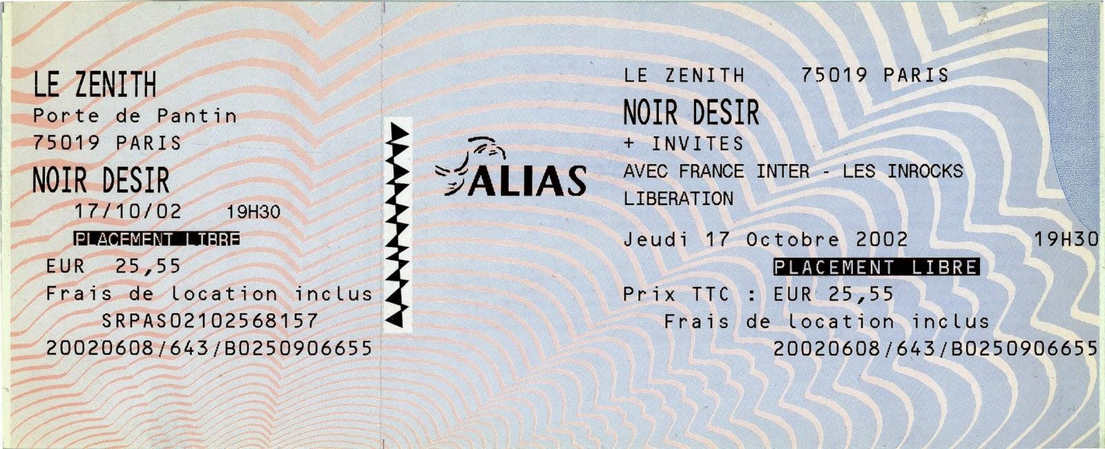 """17 Octobre 2002 Noir Desir à Paris """"le Zénith"""""""