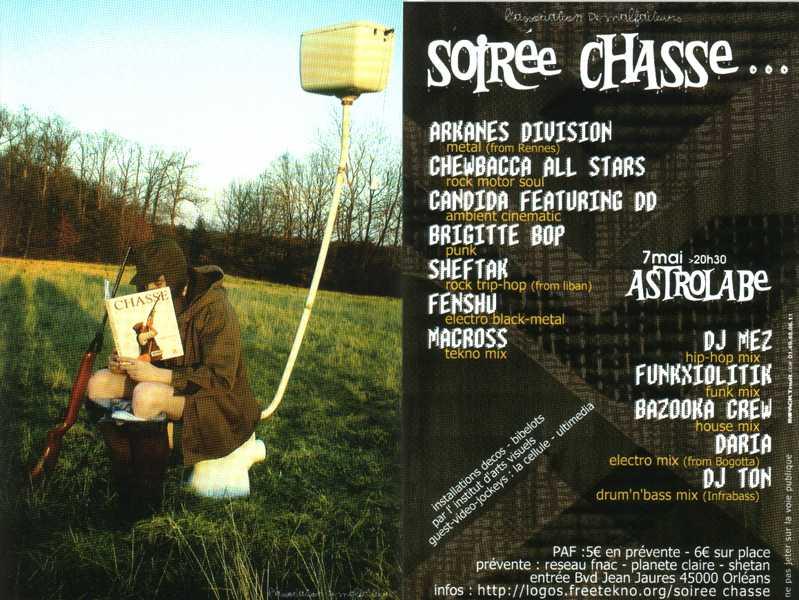 "7 mai 2003 Arkanes Division, Chewbacca All Stars, Candida Featuring DD, Brigitte Bop, Sheftak, Fenshu, Macross à Orléans ""L'Astrolabe"""