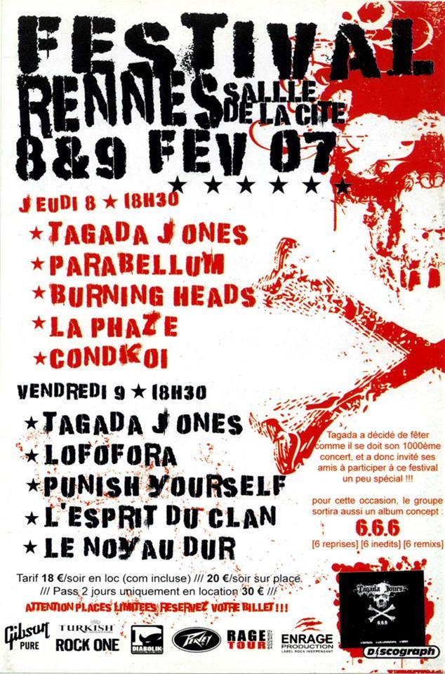 """8 février 2007 Tagada Jones, Parabellum, Burning Heads, La Phaze, Condkoi à Rennes """"Salle de la Cité"""""""