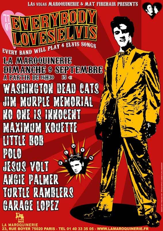 """9 septembre 2007 Garage Lopez, Washington Dead Cats, No One Is Innocent, Polo, Jim Murple Memorial, Jesus Volt, Maximum Kouette, Little Bob, Angie Palmer, Turtle Ramblers à Paris """"La Maroquinerie"""""""