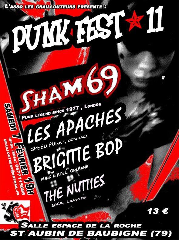 7 Février 2009 Brigitte Bop, Sham 69, les Apaches, The Nutties, les Bras Cassés à Saint Aubin les Aubigné
