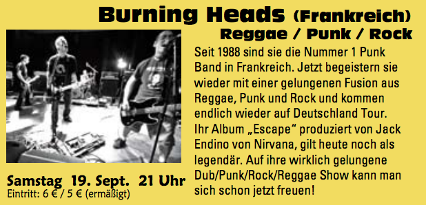 "19 septembre 2009 Burning Heads à Stemwede ""Life House"""
