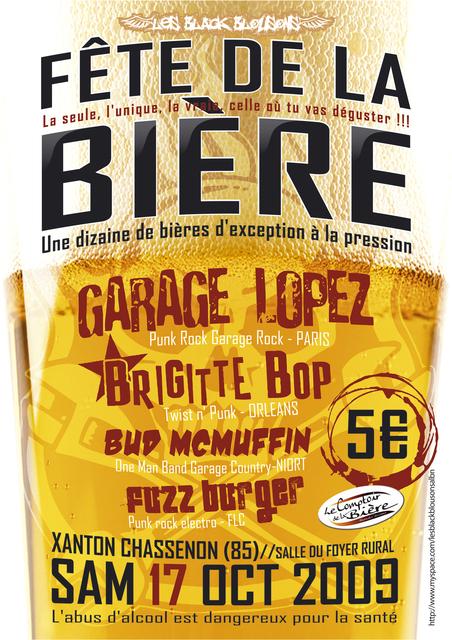 17 octobre 2009 Garage Lopez, Fuzz Burger, Bud Mc Muffin, Brigitte Bop à Xanton Chassenon