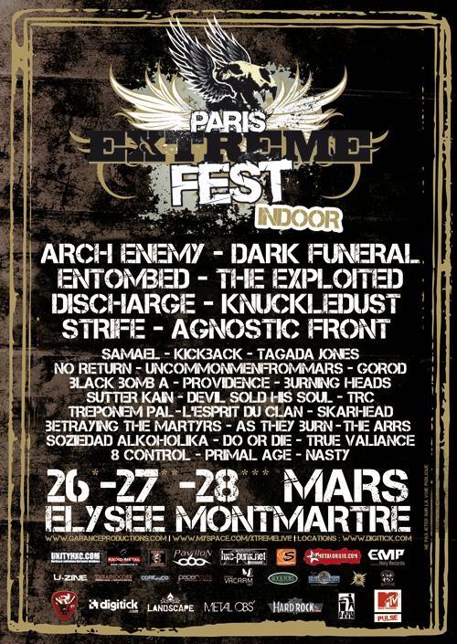 "26 mars 2010 Soziedad Alkoholika, Tagada Jones, Black Bomb A, Uncommenfrommars, Burning Heads, Discharge, The Exploited à Paris ""Elysée Montmartre"""