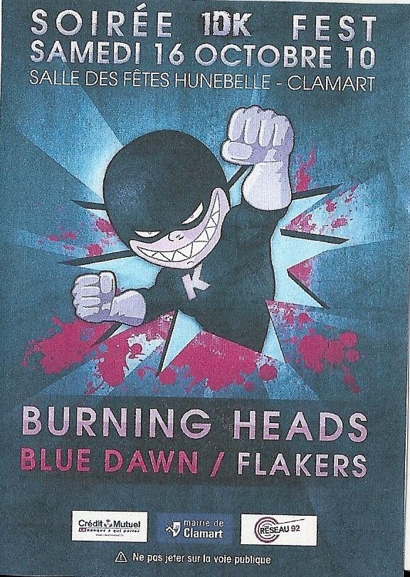 """16 octobre 2010 Burning Heads, Blue Dawn, Flakers à Clamart """"Salle des fêtes Hunebelle"""""""