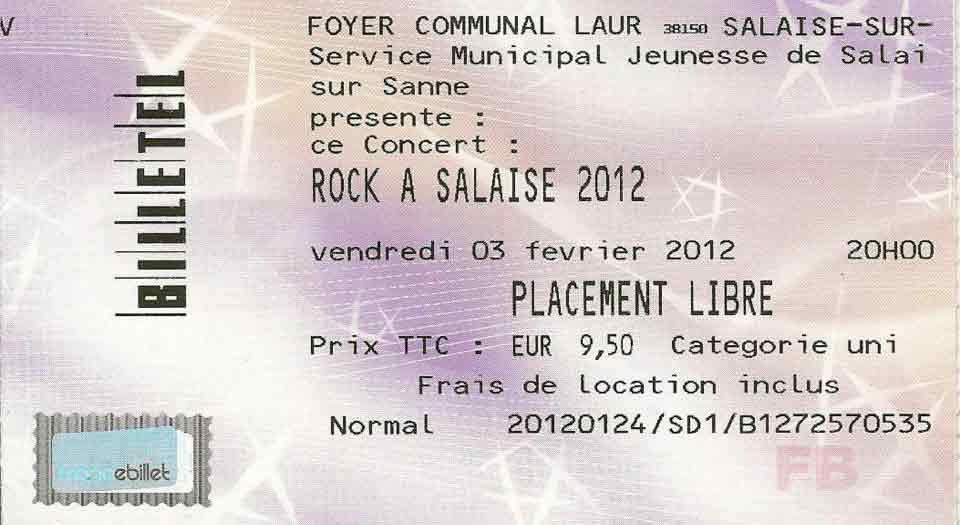 "3 février 2012 Burning Heads, Cannibal Mosquitos, Welling Walrus à Salaise-sur-Sanne ""Foyer Communal"""