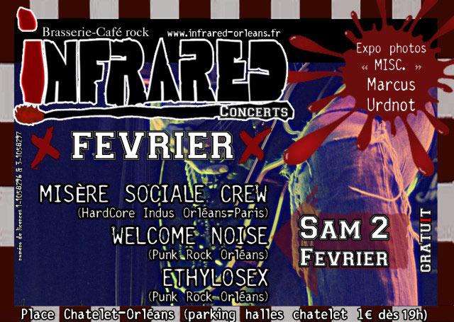 """2 février 2013 Ethylosex, Welcome Noise, Misere Sociale Crew à Orléans """"Infrared"""""""