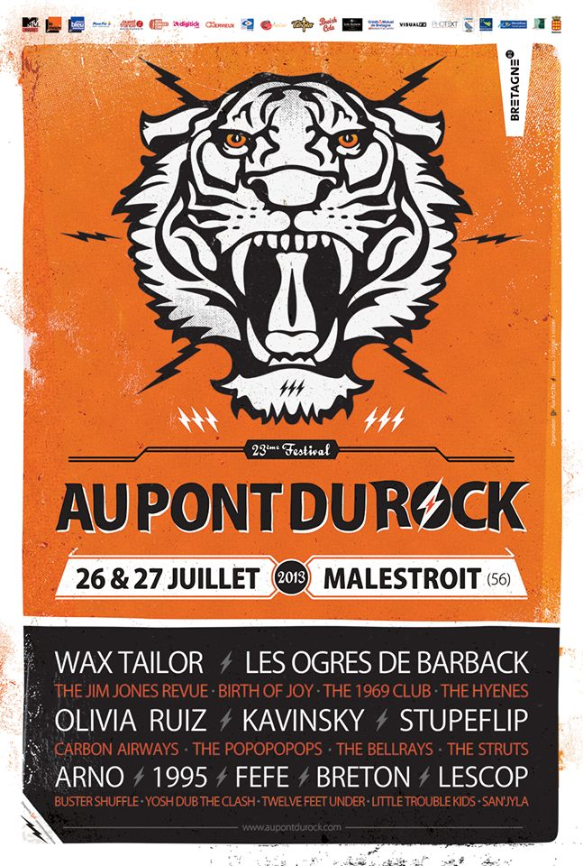 26 juillet 2013 Wax Tailor, Kavinsky, Stupeflip, The Bellrays, Breton, Birth of Joy, The 1969 Club, Buster Shuffle, Yosh Dub the Clash, Twelve Feet Under à Malestroit