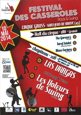 """10 mai 2014 The Garenn's, Taraf Istolei, Blues Factory, Phil Twanguy, Las Vargas, les Voleurs de Swing à Saint Jean de Braye """"Chapiteau du cirque Gruss"""""""