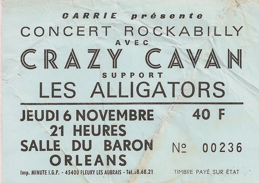 """6 novembre 1980 Les Alligators, Crazy Cavan à Orléans """"Salle du Baron"""""""