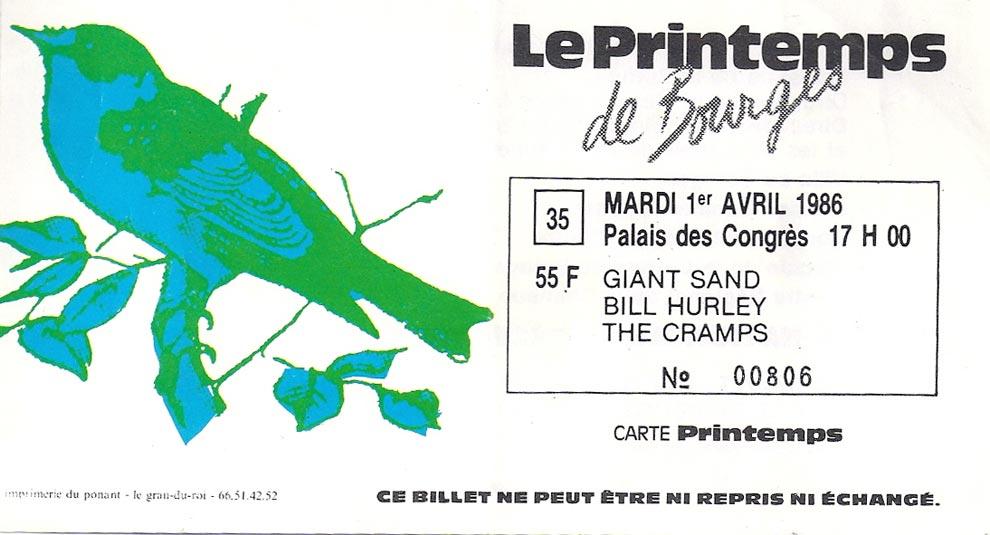"""1er avril 1986 Giant Sand, Bill Hurley, les Cramps à Bourges """"Palais des Congrés"""" + Froggies, les Innocents"""