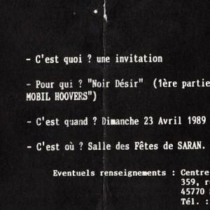 "23 avril 1989 Joe Fridge and the Mobile Hoovers, Noir Desir à Saran ""Salle des Fêtes"""
