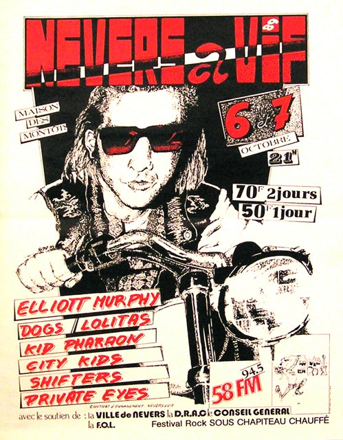 "7 Octobre 1989 Shifters, Elliott Murphy, Kid Pharaons and the Mercenaries à Nevers ""Maison de Montots"""