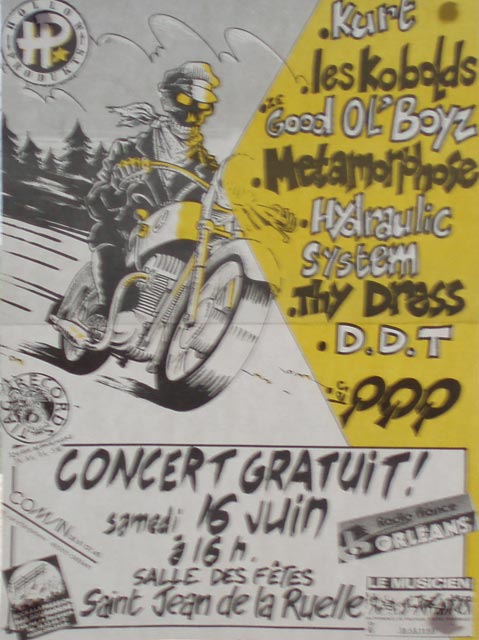 "16 juin 1990 Thy Dress, Hydrolic System, QQQ, Metamorphose, les Kobolds, Good old Boyz, DDT, Kurt à Saint Jean de la Ruelle ""Grand Unisson"""