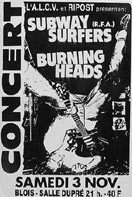 "3 novembre 1990 Burning Heads, Subway Surfers à Vienne ""Salle Dupré"""