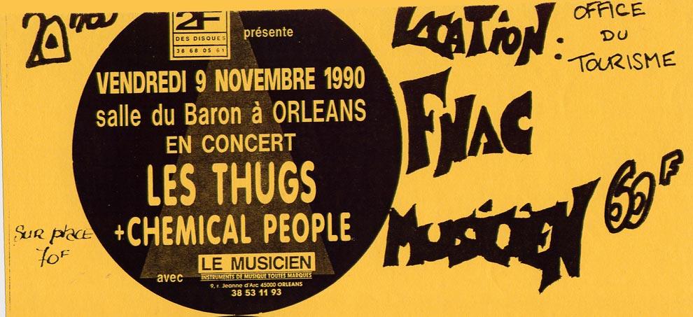 """9 novembre 1990 Chemical People, les Thugs à Orléans """"Salle du Baron"""""""