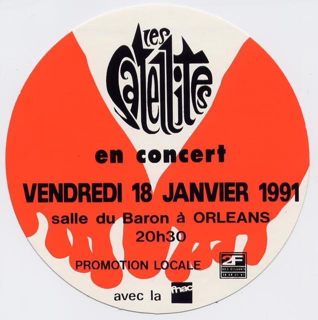"""18 janvier 1991 Macadam, les Satellites à Orléans """"Salle du Baron"""""""