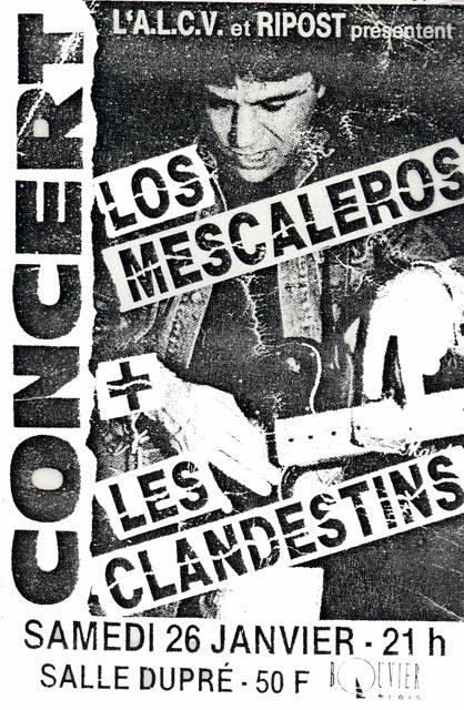 """26 janvier 1991 Les Clandestins, Los Mescaleros à Vienne """"Salle Dupré"""""""