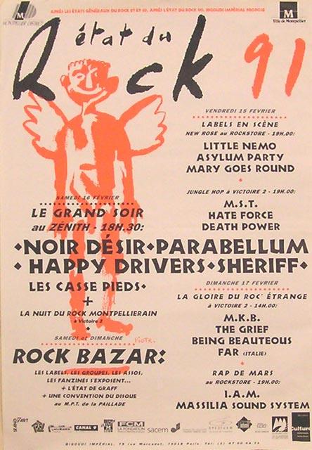"""16 fevrier 1991 Les Casse Pieds, Sheriff, Happy Drivers, Parabellum, Noir Desir à Montpellier """"Zenith"""""""