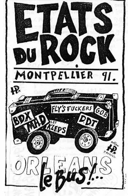 """16 février 1991 BDX, les Kleps, DDT, Fly's Fuckers, les Pyranhas, à Montpellier """"le Phylactère"""""""