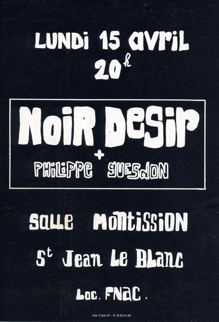 """15 avril 1991 Philippe Guesdon, Noir Desir à Saint Jean le Blanc """"Salle Montission"""""""