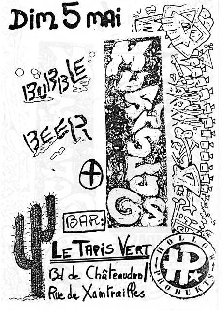 """5 mai 1991 Bubble Beer, Mushlugs à Orléans  """"le Tapis Vert"""""""