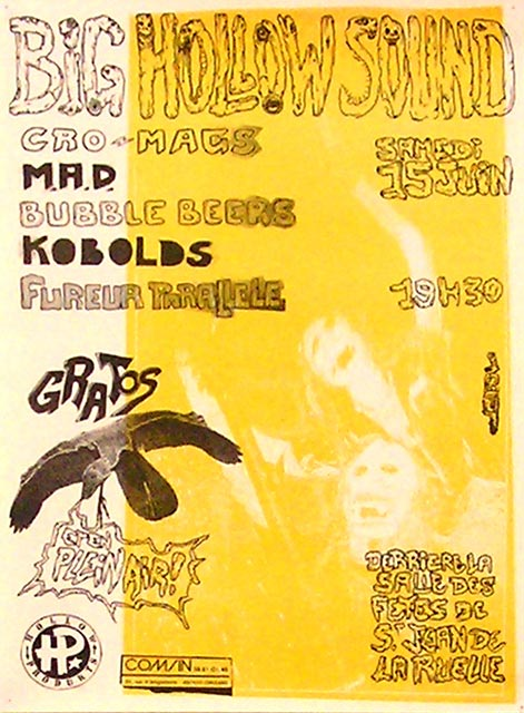 """15 juin 1991 Fureur Parallèle, Kobolds, Bubble Beers, MAD, Cro Mags à Saint Jean de la Ruelle """"Stade de l'IRESDA"""""""