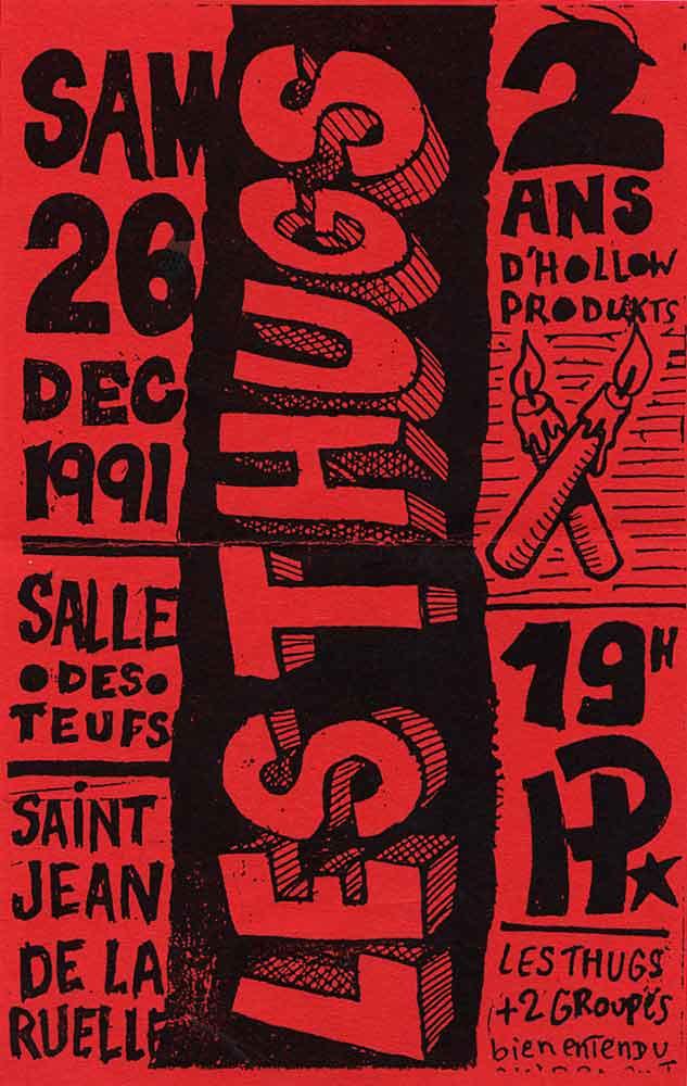 """28 décembre 1991 Capharnaum, Kamaloozoo, les Thugs à Saint Jean de la Ruelle """"Salle des Fêtes"""""""
