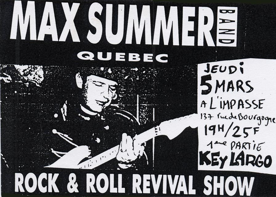 "5 mars 1992 Key Largo, Max Summer Band à Orléans ""l'impassse"""