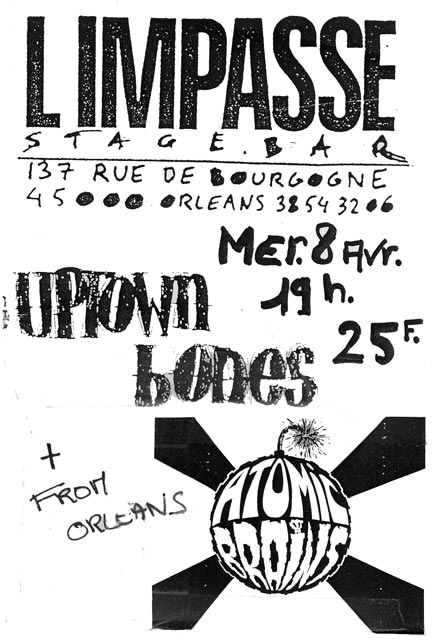 """8 avril 1992 Atomic Brains, Uptown Bones à Orléans """"l'impasse"""""""