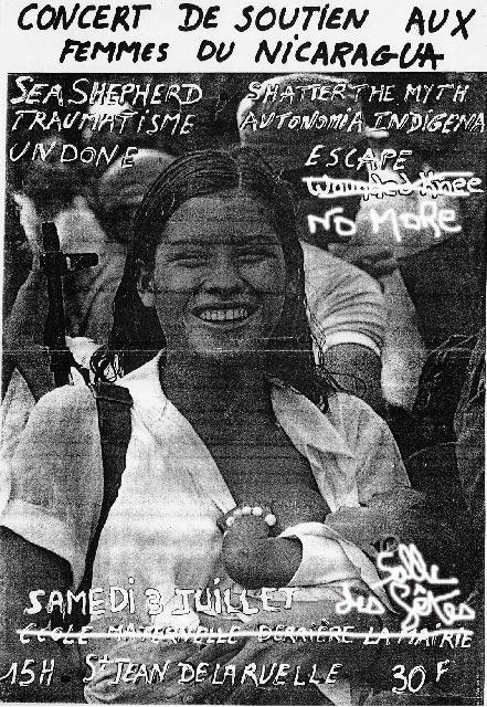 """3 juillet 1993 Autonomia Indigena, Shatter the Myth, Escape, Undone, Tromatism, Sea Shepherd, No More à Saint Jean de la Ruelle """"Salle des Fetes"""""""