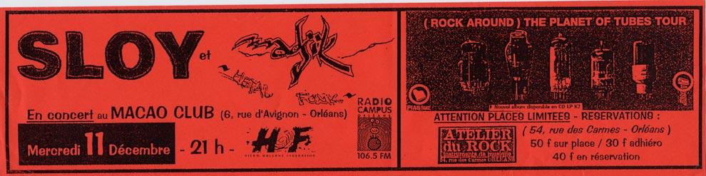 """11 décembre 1993 Sloy à Orléans """"Macao Club"""""""